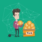 Businessman putting bitcoin coin in box for taxes